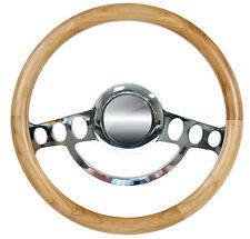 Real Alder Hot Rod Steering Wheel for Flaming River, Ididit, GM Column 9 Hole