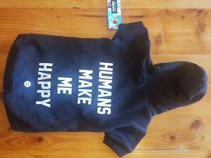 Humans Make Me Happy Dog Black Hoodie Size Medium NWT
