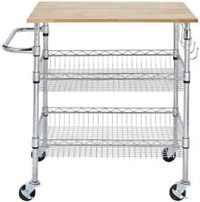 Kitchen Cart /Service Trolley Rubber Wood Top w/ 2-Height Adjustable Wire Basket