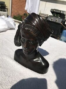 Vintage Carved Wood Balinese Sculpture Bust Of A Woman - 25cm Tall
