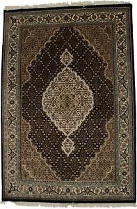 Black Floral Geometric Design 4X6 Handmade Fish Mahi Oriental Rug Wool Carpet