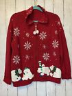 Heirloom Collectibles Polar Bear Snowflake Zip Ugly Christmas Sweater Womens M