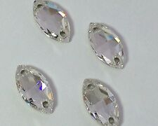 6 X Swarovski Crystal Clear 18 X 9 Mm Sew-on Feature Stones Navette Marquise Gem