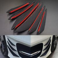 6pcs Universal Carbon Fiber Car Front Bumper Fin Spoiler Canard Refit Kit Black