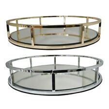 Metal Round Shape Serving/Dressing Table Tray With Mirror Glass Base