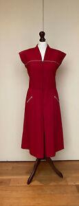 Rare Vintage JC Penney 30/40/50's WW2 Red Wartime Tea Fitted Waist V Neck Dress