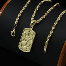 "Mens 14k Gold Plated Nugget Dog Tag Hip-Hop Pendant 24"" Rope Chain Necklace D928"