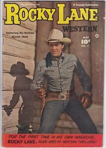 ROCKY LANE WESTERN # 1 (1949) FAWCETT - RALPH CARLSON art - PHOTO COVER
