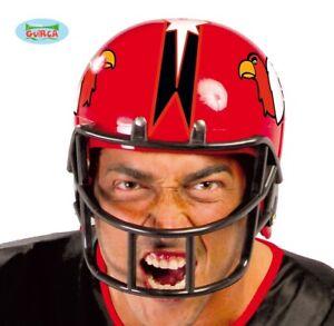 Mens American Football Fancy Dress Helmet Red New fg.