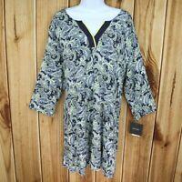 Ellen Tracy Long Shirt Tunic Top Womens Size XL Green Paisley Long Sleeve $49