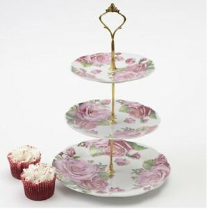 3 TIER VINTAGE FLORAL CERAMIC CAKE STAND PINK ROSE SERVING TABLEWARE DISPLAY