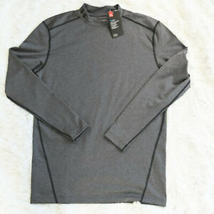 Under Armour Men's ColdGear Compression Crew Long Sleeve Shirt Gray Workout