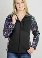 Muddy Girl Camo Full Zipper Jacket/Coat   Ladies   Choose Black w/ Pink or Teal