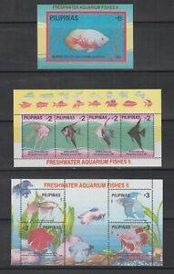 Philippine Stamps 1993 Freshwater Aquarium Fishes II  3 souvenir sheets MNH
