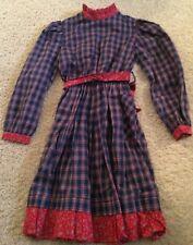 Vtg Yves Saint Laurent Girls Plaid Blue Red Paisley Dress Sz 10 Cotton Polyester