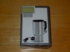 HOME ELEMENTS HEATED TRAVEL COFFEE TEA SOUP MUG 16 OUNCE STAINLESS STEEL NEW*
