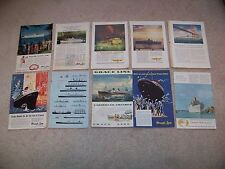 1950's LOT of 16 CRUISE SHIPS Ads from NATIONAL GEOGRAPHIC MAGAZINES