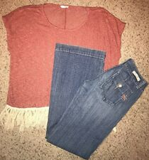 MISS ME Size 25 Reminisce Low Rise bell bottoms jeans Fantastic Fawn Fringe Top