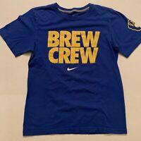 Nike  Milwaukee Brewers Brew Crew Retro Logo Blue Tee T Shirt Mens Size Small S