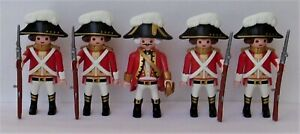 Playmobil    5 x Assorted Redcoat Officers/Soldiers   Good Condition