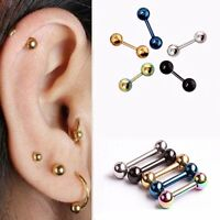2X Surgical Steel Barbell Ear Cartilage Tragus Helix Stud Bar Earring Piercing