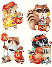 Ceramic Decals Cute Halloween Animals Dress-Up Cat Raccoon
