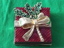 "Christmas  Trinket Box Miniature Holly Dressed Gift Box  2 "" Square with Lid"