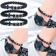 Natural Blue Tiger Eye Bracelet Fashion Hematite Cross Men Women Charm Jewelry