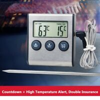Kitchen Digital Probe Food Cooking Timer BBQ Oven Grill Meat Thermometer Tool