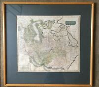 Antique Hand Coloured Map Of Persia Iran Mounted And Framed