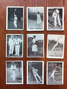 19 Tennis tobacco cards 1930s w/ Helen Wills Tiedemanns Tobak Norwegian Edition