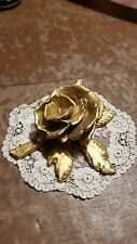 Vintage gold painted wood carved rose from late 1800s/early 1900s