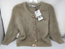 New ZARA Beige Fuzzy Pearl Snap Button, 3/4 Sleeve Cardigan Sweater; Medium; NWT