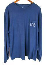 Vineyard Vines Mens Long Sleeve Christmas Whale T Shirt Blue XL Cotton Preppy
