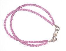 "Pink Zircon Gemstone 925 Sterling Silver 7"" Strand Bracelet 2 Layer RFV4447"