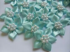 "1-1/4""(W) Lovely Light Blue Satin Ribbon Flowers w/ Bead Appliques-36 pcs-R0080L"
