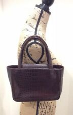 CF by Falchi Purse Brown Alligator Satchel Tote Handbag Pink Interior Vintage