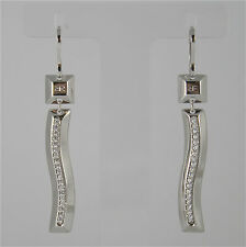 White Gold Plated Bronze Rebecca Earrings Sahara Bsaobz33 Made in Italy Crystal
