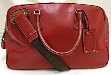 auth vintage Prada cognac red leather 2way boston shoulder travel bag padlock