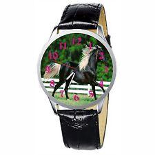 Beautiful Black Horse Stainless Wristwatch Wrist Watch
