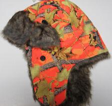 5ce00396bdf Dakota Dan Trooper Ear Flap Cap W  Faux Fur Lining Hat Orange Camo