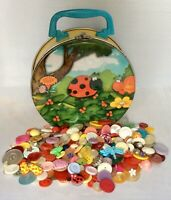 Vintage Ladybug In Flowers Tin With Craft Buttons