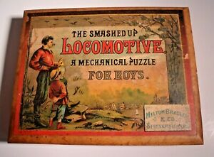Antique Milton Bradley Puzzle, The Smashed Up Locomotive