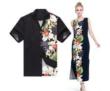 Made Hawaii Couple Matching Luau Elegant Ruffle Dress Shirt White Blue Floral XL L
