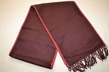 Paul Smith Mens Cashmere Scarf Nappa Leather Trim  Damson New
