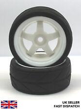 2 x White 5-Spoke Wheels & On Road Tyres 1/10th Touring Car RC *PRE GLUED* 12mm