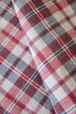 Pillowcase Antique European sham 1910 red gray & white plaid cotton SOFT 22X22in