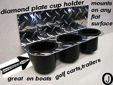 POLARIS RANGER 3 Cup Holder Diamond plate fits boats-golf carts atv utv
