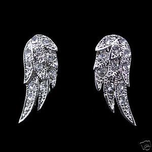 Lovely Little Angel Wing Earrings Use Austrian Crystal 18K White Gold-Plated