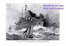 Corazzata F stampa d'arte 1907 Georg Martin Marina Barca a Vela Nave da guerra +